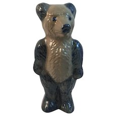 1995 Beaumont Brothers Pottery Large Bear Cobalt Blue Decorated Salt Glaze Teddy BBP 9.5 Inch