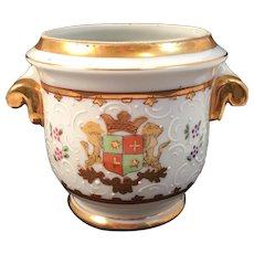 Heraldic Cache Pot Hand Painted With Enamel Decoration Heraldry Family Crest Porcelain Gold Trimmed