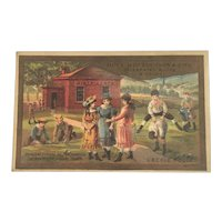 CM Henderson & Co Celebrated Boots & Shoes L'Ecole Rouge School House Little Red Schoolhouse Victorian Trade Card