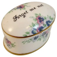 Crown Staffordshire Bone China Floral Forget Me Not Trinket Box England English