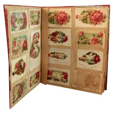 Victorian Calling Card Scrap Book with Die Cut and Silk Fringe