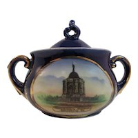 German Gettysburg Pennsylvania Memorial Battlefield Souvenir Sugar Bowl Hand Painted Germany by BB&F for George Claritzman Civil War