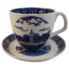 Adams Gettysburg PA Historical Staffordshire Cup and Saucer Blue Transferware Transfer Eternal Light Peace Monument