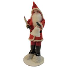Blue Eyed Santa with Sugar Bell and Mercury Glass Candle in Felt Suit Chenille Trim on Mica Flocked Base Christmas Putz