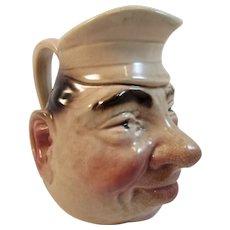 Victorian Sarreguemines Majolica Face Jug Pitcher Character Pottery c 1880s