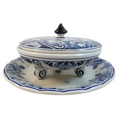 Delft Footed Bowl and Underplate 3 Pieces Ram Hennes Holland Vintage Blue and White