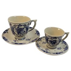 2 Delft Cup and Saucer Sets Ram Holland Vintage Blue and White Demitasse