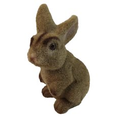 Vintage Flocked Rabbit Bunny Bank