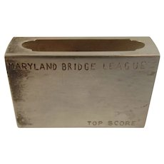 Sterling Silver Match Safe Box Holder Maryland Bridge League