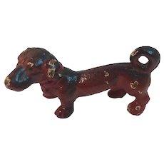 Cast Iron Miniature Dachshund Figurine with Original Paint Weiner Dog
