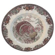 Johnson Brothers Autumn Monarch Turkey Dinner Plates 10 & 1/2 inch Thanksgiving Dinnerware