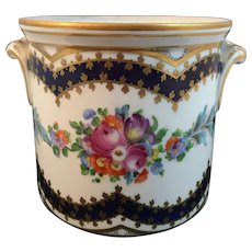 Dresden China Cache Pot with Cobalt Blue, Gold and Floral Decoration