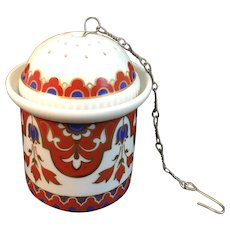 Vintage Kaiser Porcelain 3 Piece Tea Strainer Germany German with Chain