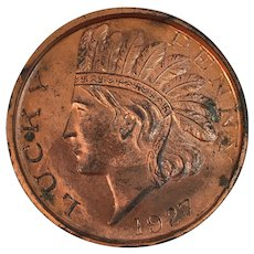 1927 Lucky Indian Head Penny Paperweight Chicago Souvenir Oversized Coin