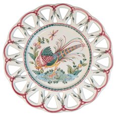 Portuguese Pottery Amfora Pheasant Plate Hand Painted Portugal Reticulated Edge