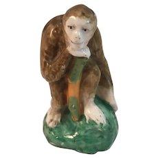 Victorian Staffordshire Monkey Figurine Antique Pottery