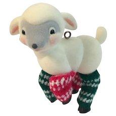 1985 Hallmark Flocked Lamb in Legwarmers Ornament in Original Box Leg Warmers