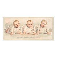 Who Said Hood's Sarsaparilla Babies Advertising Victorian Trade Card Quackery Cure All