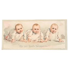Who Said Hood's Sarsaparilla Babies Advertising Victorian Trade Card Quackery Cure All