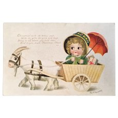 Clapsaddle Signed Christmas Embossed Postcard Child in Goat Cart Published by IAP RF Poem