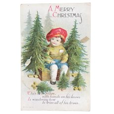 Clapsaddle Signed Christmas Embossed Postcard Child with Trees Published by IAP
