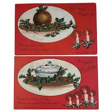 2 1907 Clapsaddle Signed Christmas Embossed Postcards Pudding and Tureen on Platters Holiday Table Scenes Published by IAP