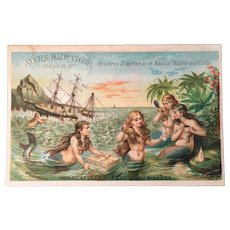 Victorian Trade Card Mermaids at Shipwreck Getting Ayers Hair Vigor Crates Quackery Cure All Ship Wreck