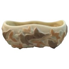 Phoenix Consolidated Martele Nuthatch Birds Planter Custard Glass