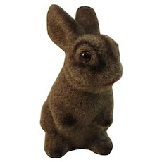 Vintage Flocked Rabbit Bunny Bank