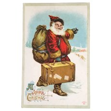 P Sander Hitchhiking Santa with Suitcase A Joyful Christmas Postcard Embossed