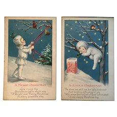 2 Snowbaby Christmas Postcards Ringing Bell with Squirrel and Asleep in a Tree with Birds c 1920s Snow Baby