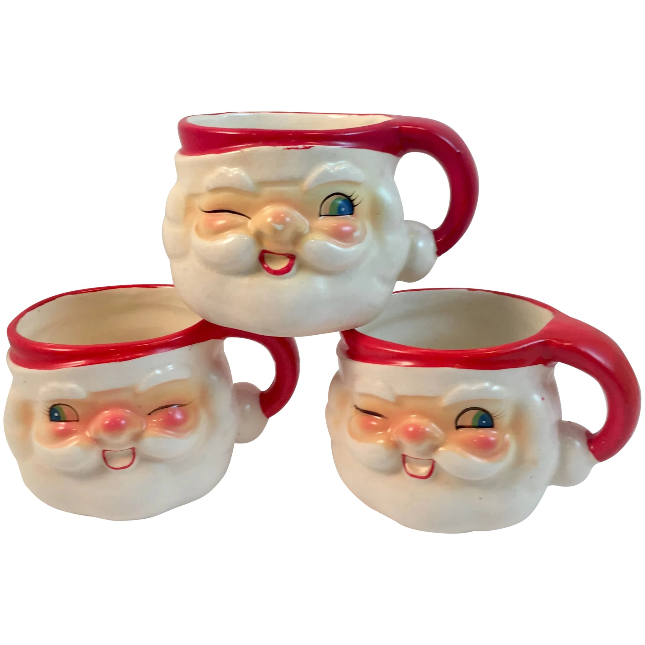 3 1960 Holt Howard Winking Santa Mugs With Blue Eyes Hh Vintage Ss Moore Antiques Ruby Lane