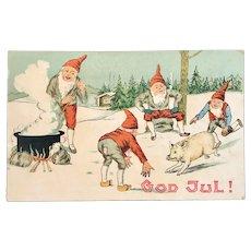 Swedish God Jul Gnomes Chasing a Pig Postcard Merry Christmas