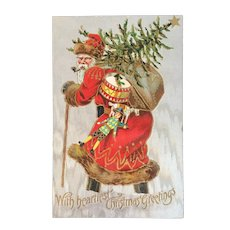 Old World Santa Postcard with Tree Sack of Toys Drum and Toy Soldier Christmas Red Robe Brown Fur