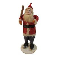 Blue Eyed Santa with Tree in Felt Suit Chenille Trim on Mica Flocked Base Christmas