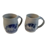 2 Eldreth Pottery Pig Mugs Salt Glazed with Cobalt Decoration Pennsylvania Folk Art Artist Signed