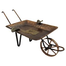Peru Llama Copper and Brass Wheelbarrow Ashtray