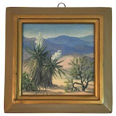 1953 Marie Dorothy Dolph Miniature Original Oil Painting titled Spanish Bayonet M.D.