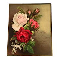 1881 Prang Victorian Christmas Card Chromolithograph Roses Victorian Era