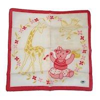 Hadson Child's Hanky Teddy Bear Giraffe and Chick Never Used Handkerchief Hankie