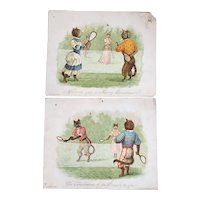 2 Hildesheimer Victorian Dressed Cat Christmas Cards Playing Lawn Tennis