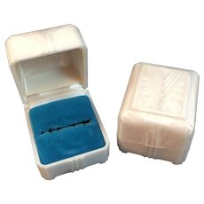 2 Art Deco Ring Presentation Boxes Velvet and Satin Lining Made in USA by SUC Pearlized Plastic or Celluloid