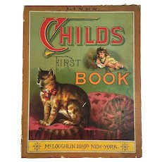 c 1886 McLoughlin Bros Childs First Book Linen Chromolithograph Illustrations Victorian Era Kitty Cat on Cover