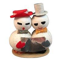 Paper Mache Snowman Carolers Mr and Mrs Mica Putz Chenille Felt Vintage Japan Christmas