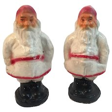 2 1930s Paper Mache Santa Claus Candy Containers White Robes