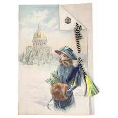 1919 US Naval Academy Midshipmen Christmas Card Artist Signed Illustrations USNA Blue and Gold