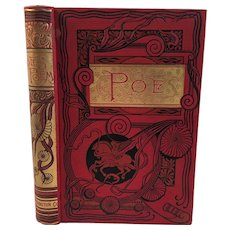 c 1893 Poems of Edgar Allan Poe with Memoir Worthington Co Victorian Illustrated Book Poetry