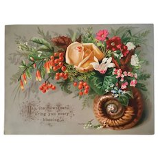 Large Embossed Victorian Snail Shell and Flowers Rose New Year Card