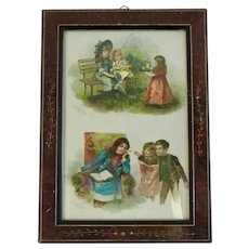 1901 McLoughlin Bros Color Plates of Young Children in Eastlake Victorian Frame Brothers