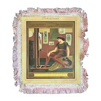 Marcus Ward Victorian Silk Fringe Christmas Card Renaissance Artist and Maiden New Year
